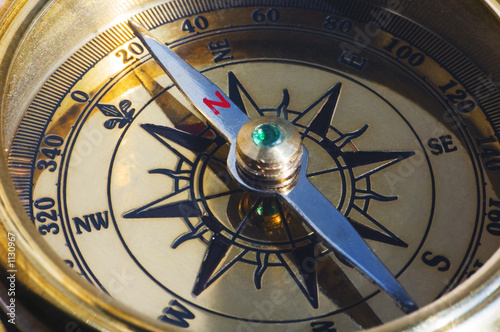 Canvas Prints Ship old style gold compass closeup