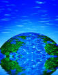 canvas print picture - earth with reflection