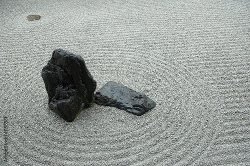 Acrylic Prints Stones in Sand detail from a japanese rock garden in kyoto, japan