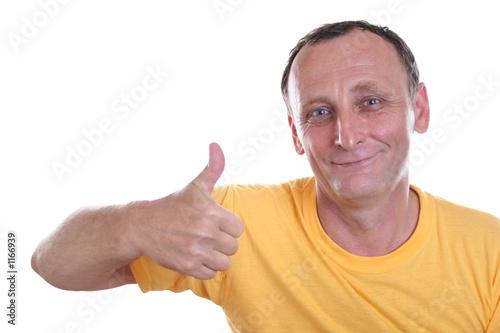 Photo  senior with finger ok