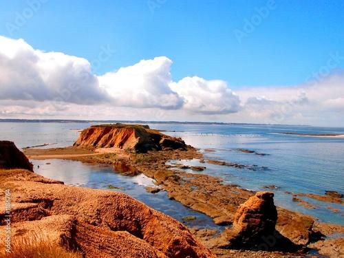 Obraz na plátně maree basse.beaux rochers et falaises