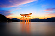 Leinwandbild Motiv torii gate at sunset