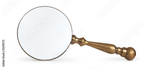 Fotografia  antique magnifying glass on white background