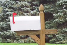 Blank White Mailbox With Red Flag 1