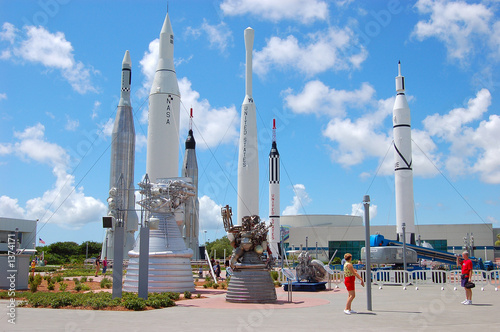 rockets at the kennedy space center Canvas Print