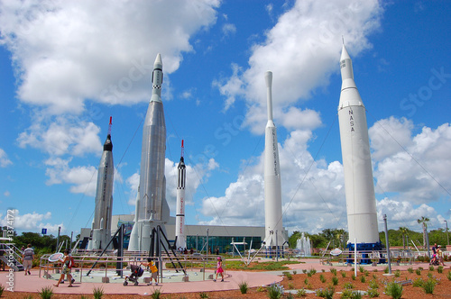 Photo Stands Nasa rocket laundhers