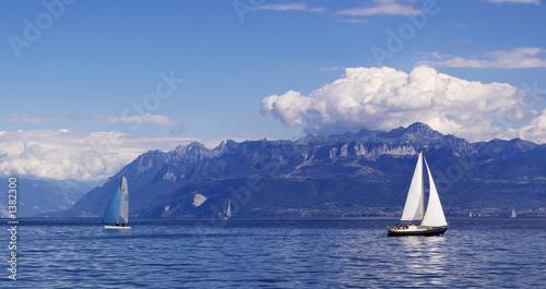 Photo sur Aluminium Voile sailing on geneva lake