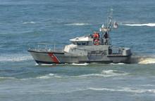 Us Coast Guard Boat At Rescus Operation