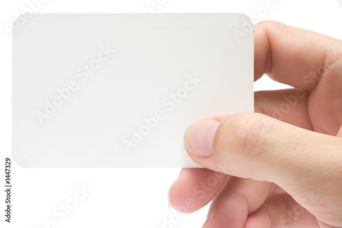 Photo  holding a business card