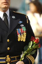 Marine, Soilder Decorated In Full Dress With Medals