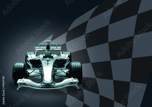 Deurstickers F1 formula 1 car and flag