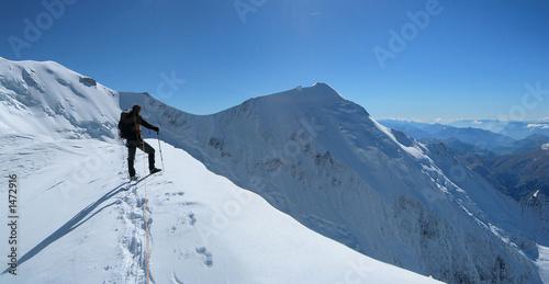 Poster de jardin Alpinisme alpiniste sur la voie normale du mt blanc