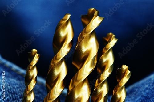 Fototapeta gold drill bits obraz na płótnie