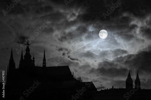 Obraz na plátně full moon over transilvania