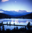 canvas print picture - mountain sunset/moonset