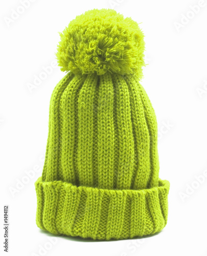 Fototapeta green knitten woollen cap