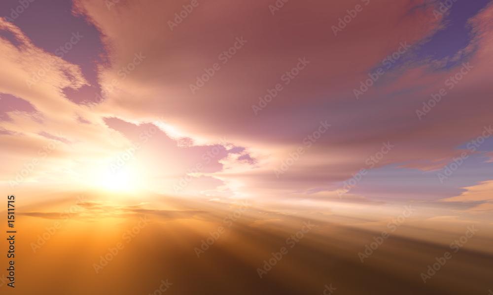 Fototapeta dramatic sky at sunset / sunrise