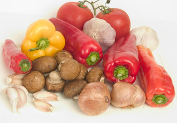 vegetable ingredients on cutting board