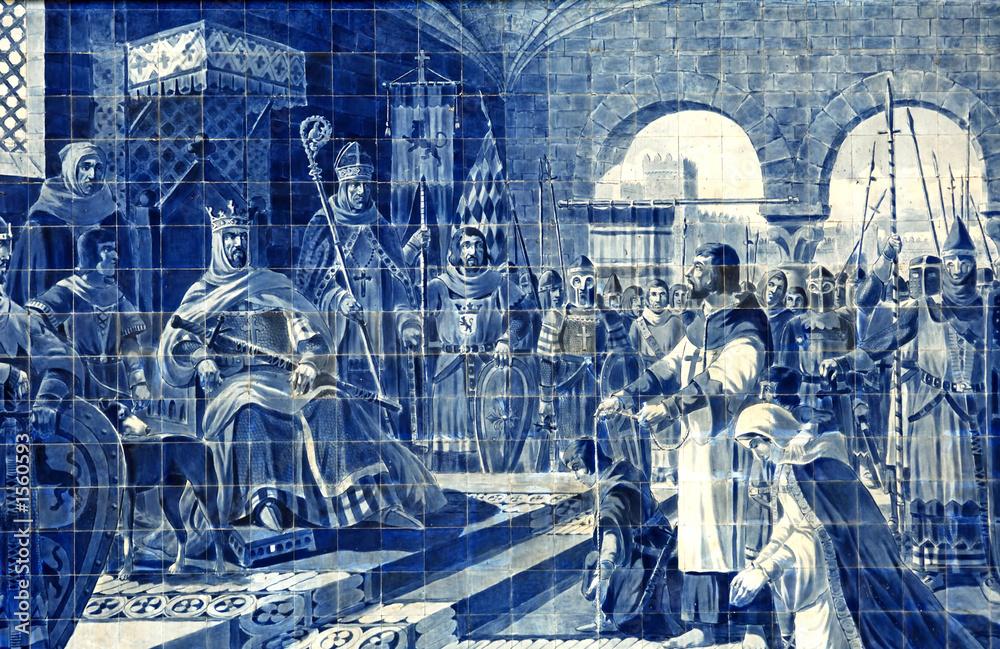 Foto-Stoff bedruckt - portugal, porto: azulejo in the railway station