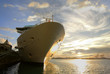 canvas print picture - cruise ship at sundown