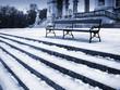 canvas print picture - winter park bench