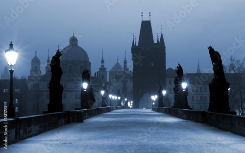 Poster Praag charles bridge, (blue) prague
