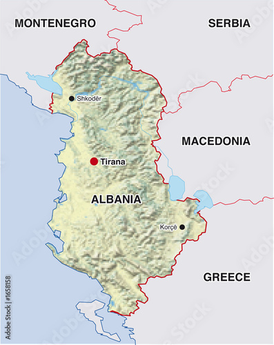 Landkarte Albanien Albania Map Buy This Stock Illustration And