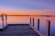 Perth Jetty Sunset On Swan River With Cityline