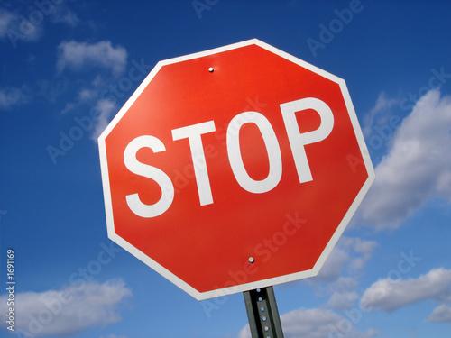 Fotografie, Obraz  stop sign against blue sky