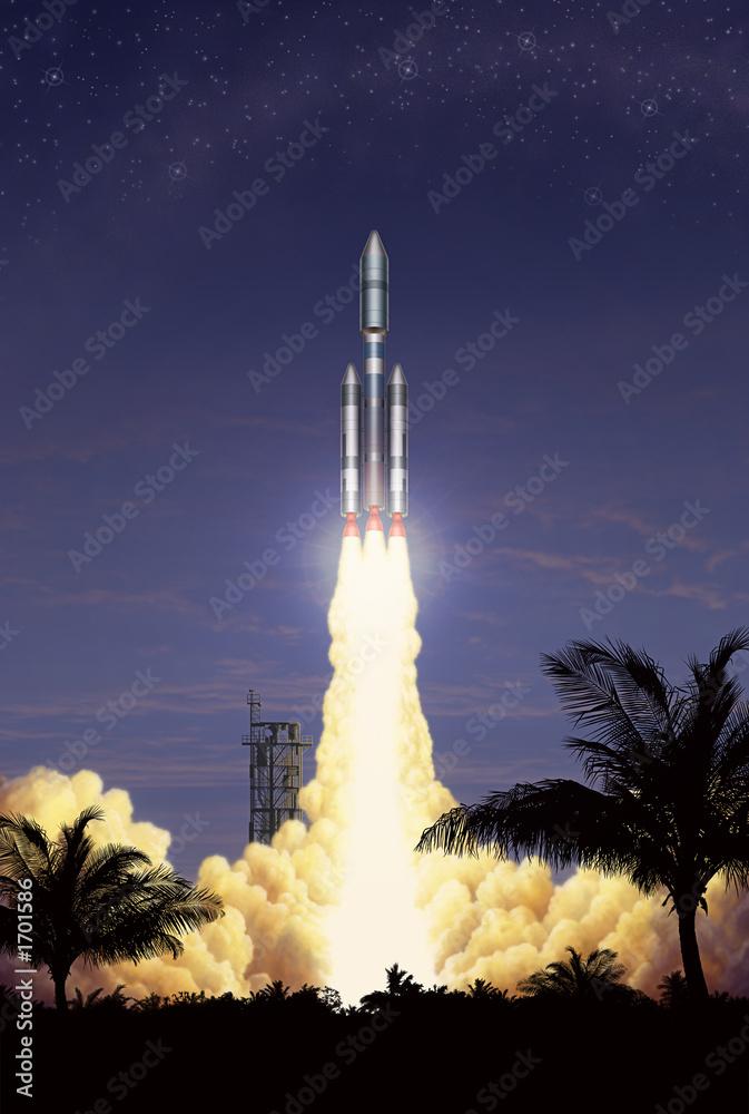 einzelne bedruckte Lamellen - rocket takeoff