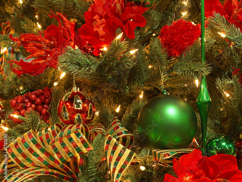 Lush Red Green Gold Christmas Tree Buy This Stock Photo And