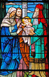 canvas print picture - stained glass window of  baby jesus / 3 wise men