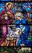 canvas print picture - stained glass widow of nativity