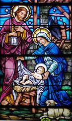 Naklejkastained glass widow of nativity
