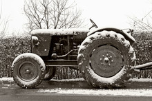 Old Tractor In Winter
