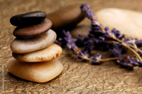 lavender and stones