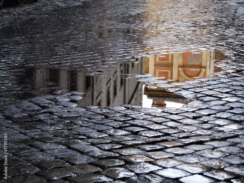 Obraz na płótnie reflection in puddles after rain