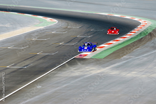 Poster Voitures rapides red and blue racing cars