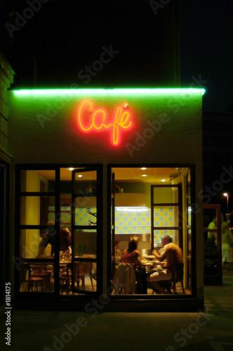 Obraz na plátně cafeteria by night