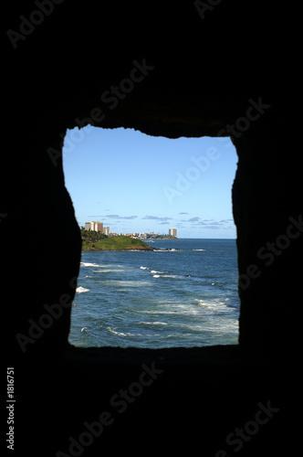 Foto op Aluminium Cathedral Cove salvador coastal stamp
