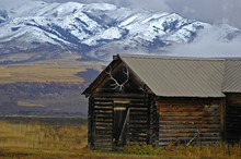 Cabin And Mountains