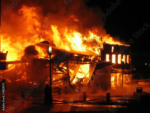 Photo burning building