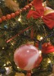 red adn white swirl ball ornament