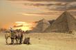 Leinwandbild Motiv people ath the great pyramids