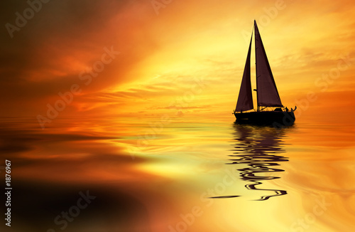 sailing and sunset Fototapeta