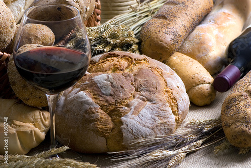 Fotografie, Obraz  wine and bread 2 12-10