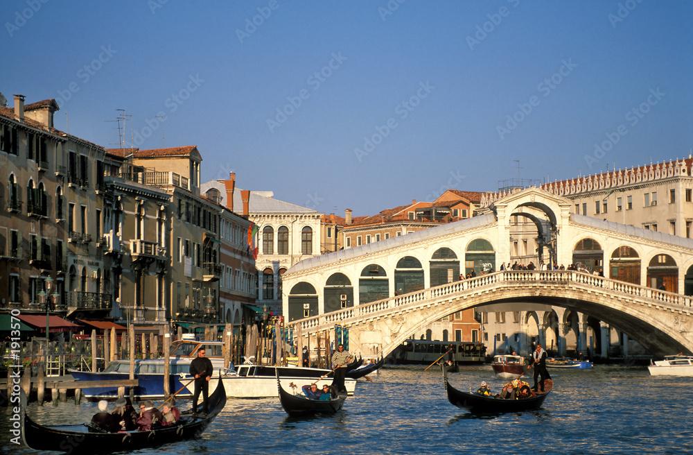 Fototapety, obrazy: Venedig, Rialtobrücke, Canal Grande, Gondeln, Copy space
