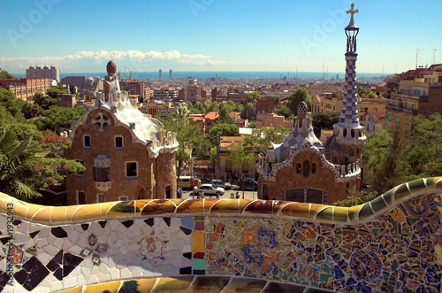 ceramic mosaic in park guell #1932943