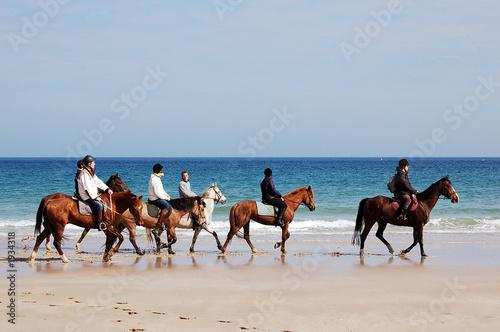 Photo  randonnée à cheval sur la plage