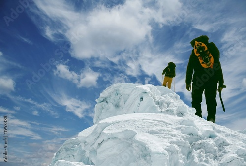 Photographie two climber on peak